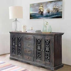 Smokey Grey Traditional Mango Wood & Iron Sideboard Buffet