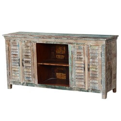 Appalachian Rustic Winter Mango Wood TV Console Media Cabinet