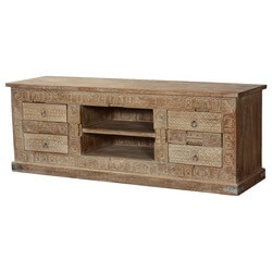 Modern Primitive Hand Carved Mango Wood TV Console Media Cabinet