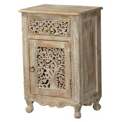 Queen Anne Lace Front Mango Wood Nightstand End Table Cabinet