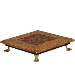 "8 Petal Flower Hand Carved Solid Mango Wood 8"" Square Bajot Table"