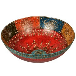 Bangalore Hand Painted Iron Decorative Multi Color Bowl