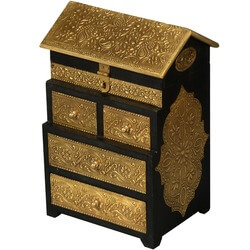Elizabethan Mango Wood & Brass Jewelry House Keepsake Box