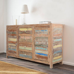 Santa Fe Rustic Sunset Reclaimed Wood Buffet Sideboard Cabinet