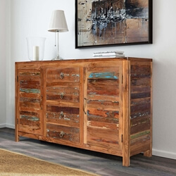 Santa Fe Distressed Rustic Reclaimed Wood Sideboard Buffet Cabinet