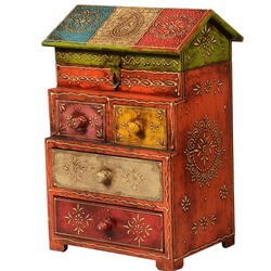 Little House Mango Wood Hand Painted 4-Drawer & Shelf Jewelry Box