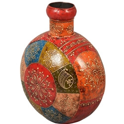 Tapestry Multi-Color Iron Hand Painted Decorative Bottle
