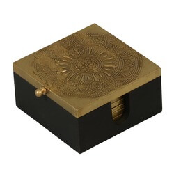 Golden Mandala Mango Wood 6pc Square Coaster Set