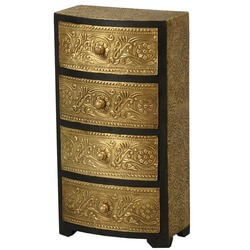 Golden Garden Mango Wood & Brass 4 Drawer Jewelry Chest