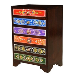 Rainbow Treasures Mango Wood Jewelry Box 6-Drawer Mini Chest