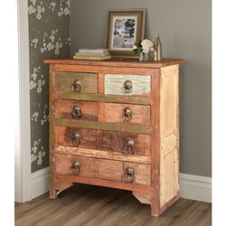 Rustic Farmhouse Reclaimed Wood 6-Drawer Dresser Chest