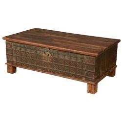 Elizabethan Treasure Reclaimed Wood Standing Coffee Table Chest