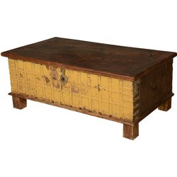 Yellow & Brown Gothic Reclaimed Wood Standing Coffee Table Chest
