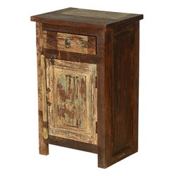 Farmhouse Distressed Reclaimed Wood Nightstand Mini Cabinet