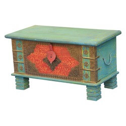 "Flaming Flower & Sky Blue Reclaimed Wood 31.5"" Coffee Table Chest"