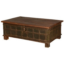 Gothic Traditional Distressed Reclaimed Wood Coffee Table Chest