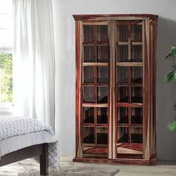 Solid Wood Rustic Glass Door Large Storage Cabinet