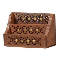 Lace Front Mango Wood 2 Compartment Desk Top Organizer
