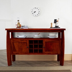 Contemporary Solid Wood Standing Wine Bar Cabinet Console