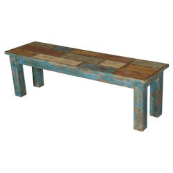 "Wooden Patches Acacia Wood Blue & Brown 55"" Bench"