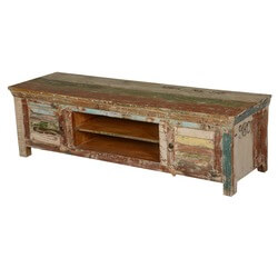 Rustic Industrial Shutter Doors Reclaimed Wood TV Media Console