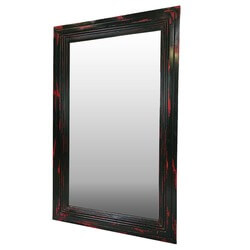 Frontier Rustic Acacia Wood Red & Black Distressed Wall Mirror