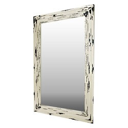 Frontier Rustic Acacia Wood White Distressed Wall Mirror