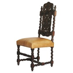 Royal Elizabethan Solid Wood Upholstered Hand Carved Side Chair