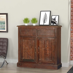 Tapestry Reclaimed Wood Hand Carved Sideboard Buffet Cabinet