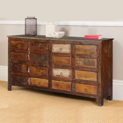 Sweet 16 Drawer Rustic Reclaimed Wood Dresser Chest