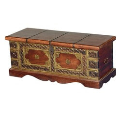 "Elizabethan Treasures Mango Wood & Brass 32.5"" Coffee Table Chest"