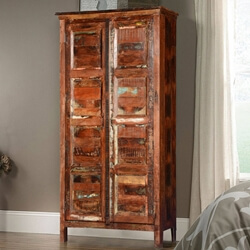 Rustic Farmhouse Reclaimed Wood Armoire Storage Cabinet