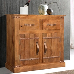 Modern Farmhouse Solid Mango Wood Country Buffet Cabinet