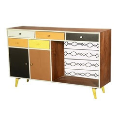60's Retro Earth Tones Mango Wood Standing Sideboard Buffet