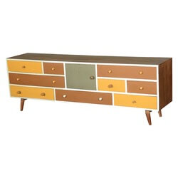 60's Retro Earth Tones Mango Wood Media Console Cabinet