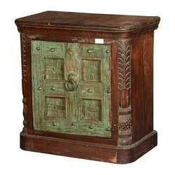 Gothic Green Door Reclaimed Wood End Table Cabinet
