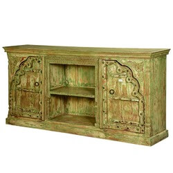 Spring Green Gothic Reclaimed Wood TV Console Media Cabinet