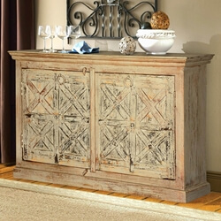 Winter White Rustic X's Reclaimed Wood Sideboard Cabinet