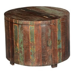 Appalachian Rustic Reclaimed Wood Round Barrel Chest Accent Table