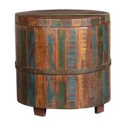 Rainbow Rustic Reclaimed Wood Round Barrel Chest Table