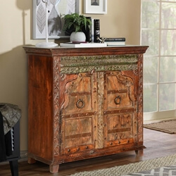 Rustic Gothic Gates Reclaimed Wood Freestanding Buffet Cabinet