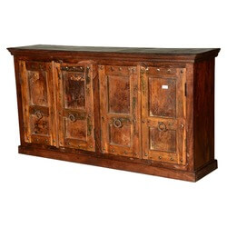 Rustic Gothic Traditions Reclaimed Wood Sideboard Cabinet