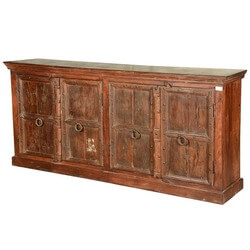 "Early American Reclaimed Wood Rustic 84"" Sideboard Cabinet"