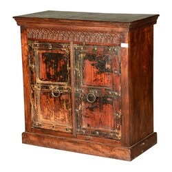 Italian Gothic Distressed Reclaimed Wood Freestanding Cabinet