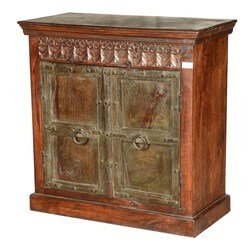 Italian Gothic Reclaimed Wood Hand Carved Sideboard Cabinet
