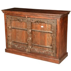 Primitive Carvings Reclaimed Wood Distressed Sideboard Cabinet