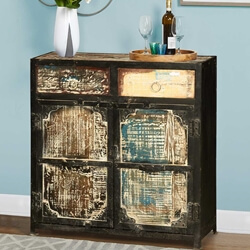 Rustic Industrial Reclaimed Wood & Iron Freestanding Cabinet