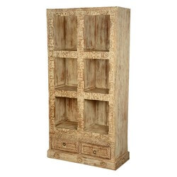 Winter White Reclaimed Wood 6-Section Open Display Wall Cabinet