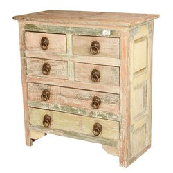 Frosted White Reclaimed Wood 6-Drawer Chest Dresser