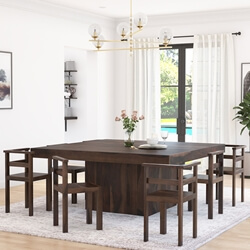 "Modern Rustic Solid Wood 64"" Square Pedestal Table w 8 Chairs"